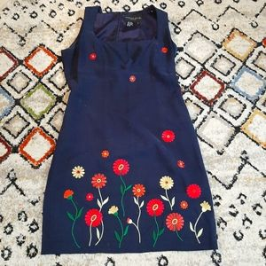 August silk dress with flower embroidery